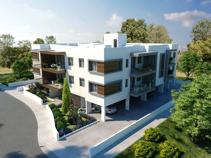 Apartments for sale Latsia - Ourania Front and Side views